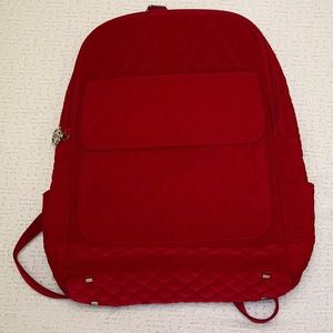 Vera Bradley Fire Red Quilted Microfiber Backpack